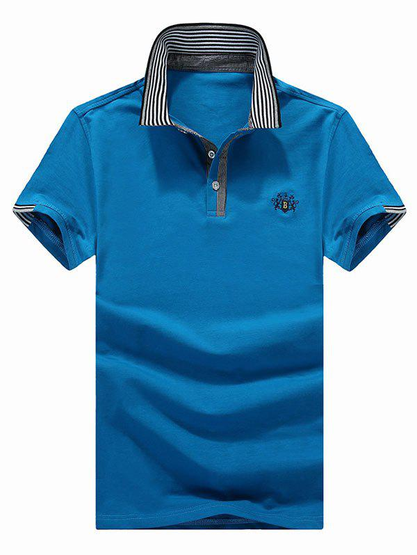 Turn-Down Collar Embroidered Stripe Print Spliced Edging Short Sleeve Men's Polo T-Shirt - DEEP BLUE XL