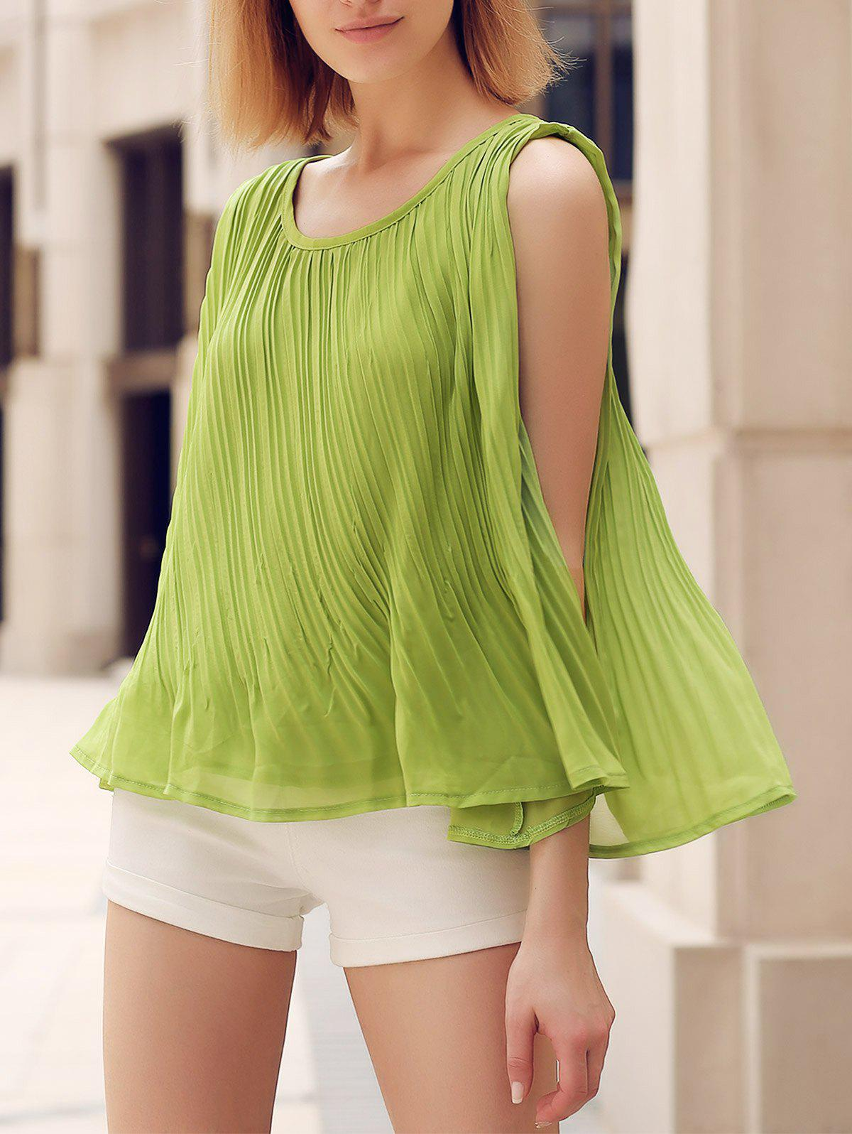 Chic Scoop Neck Loose-Fitting Solid Color Pleated Women's Tank Top - S GREEN