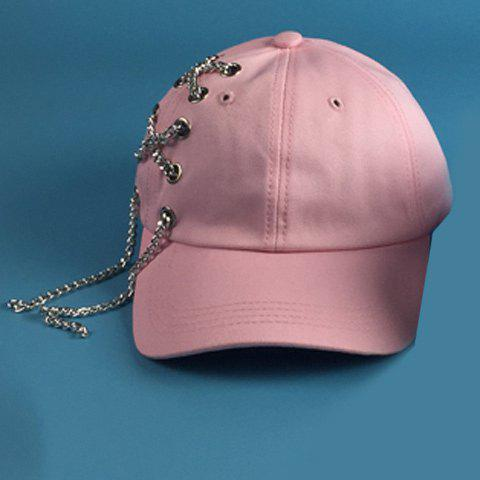 Chic Alloy Chain and Hollow Hole Embellished Women's Baseball Cap - PINK