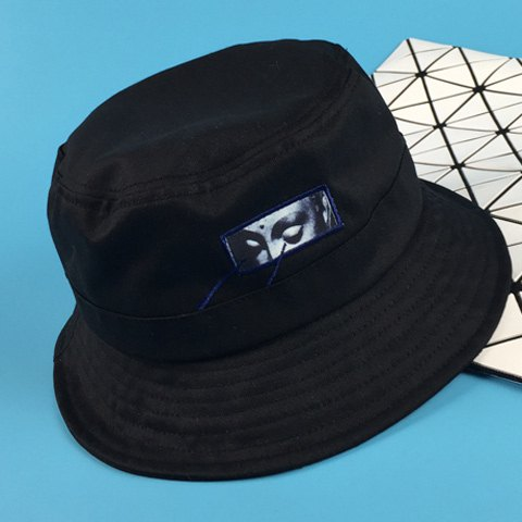 Stylish Eyes Applique and Embroidery Embellished Men's Bucket Hat - BLACK