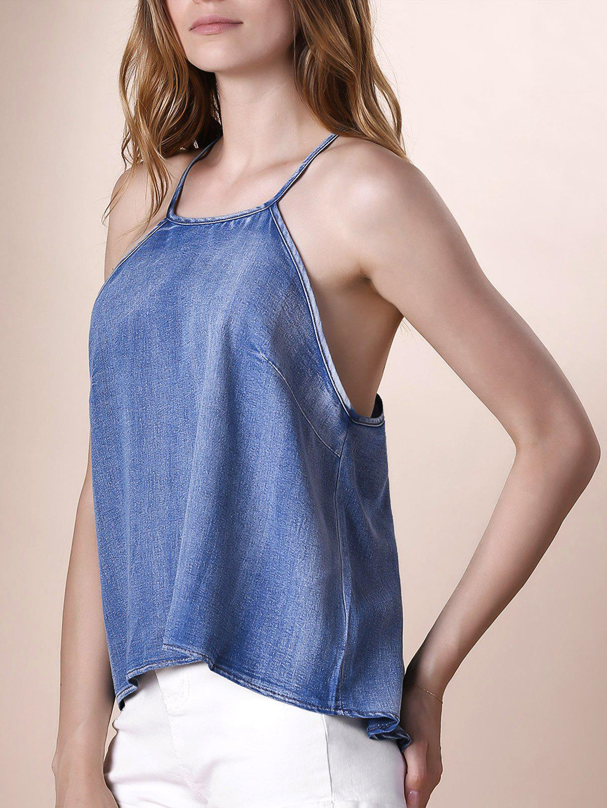 Stylish Women's Strappy Backless Denim Crop Top - BLUE M