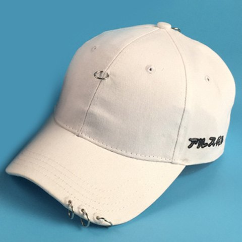 Stylish Circle Rings and Embroidery Embellished Men's Black Baseball Cap - WHITE