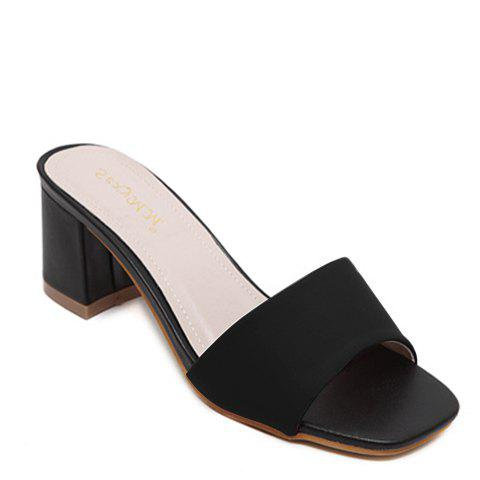 Stylish Chunky Heel and Solid Colour Design Women's Slippers - BLACK 38
