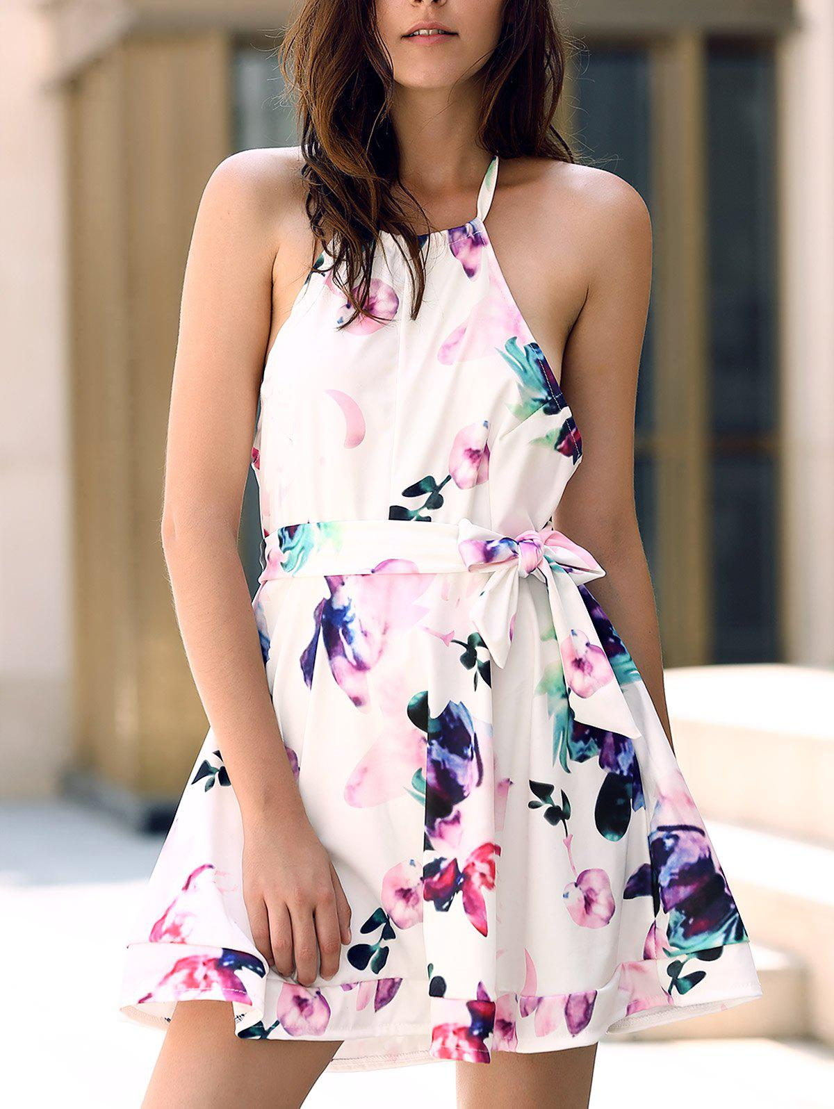 Fashionable Sleeveless Halter Backless Floral Print Women's Dress - COLORMIX S