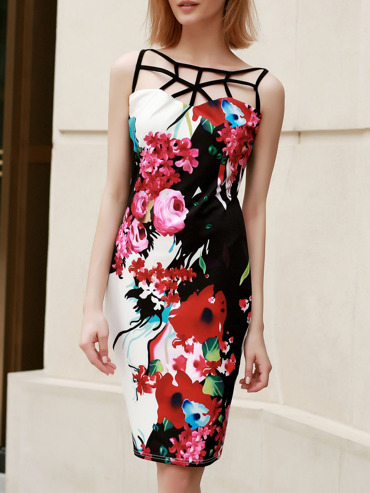 Trendy Sleeveless Hollow Out Skinny Floral Print Women's Dress - COLORMIX S