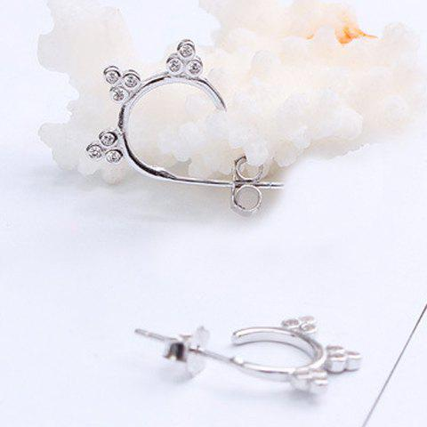 Pair of Simple Rhinestoned Clover Stud Earrings For Women