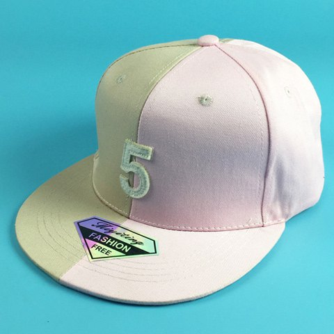 Chic Number 5 Shape Embellished Two Color Match Women's Baseball Cap - PINK