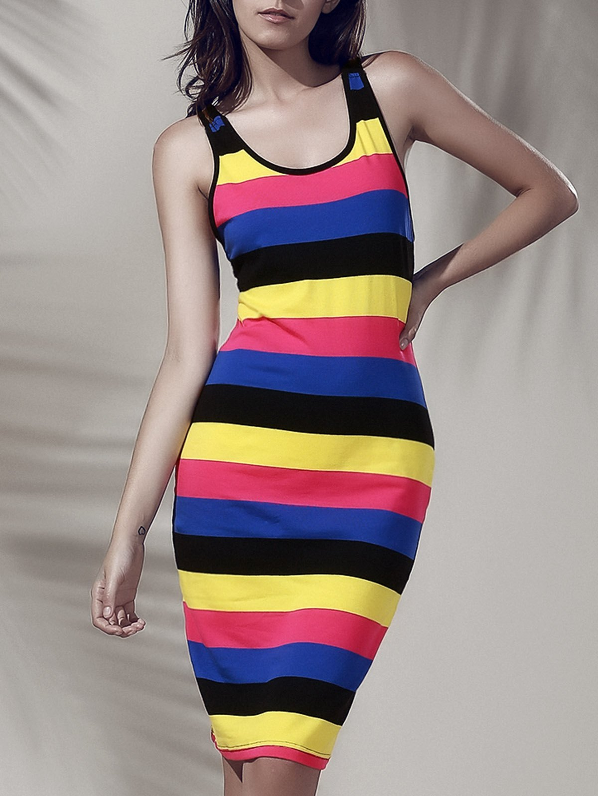 Chic Colorful Scoop Neck Tank Dress For Women - COLORMIX S