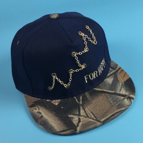 Stylish Chain and Embroidery Embellished Bionic Plant Brim Men's Baseball Cap - CADETBLUE