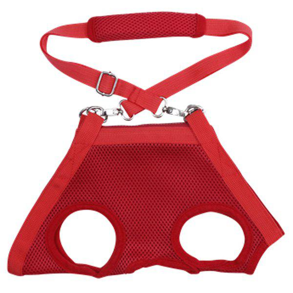 Fashionable Solid Color Mesh Fabric Multifunctional Pet Dog Bag - RED S
