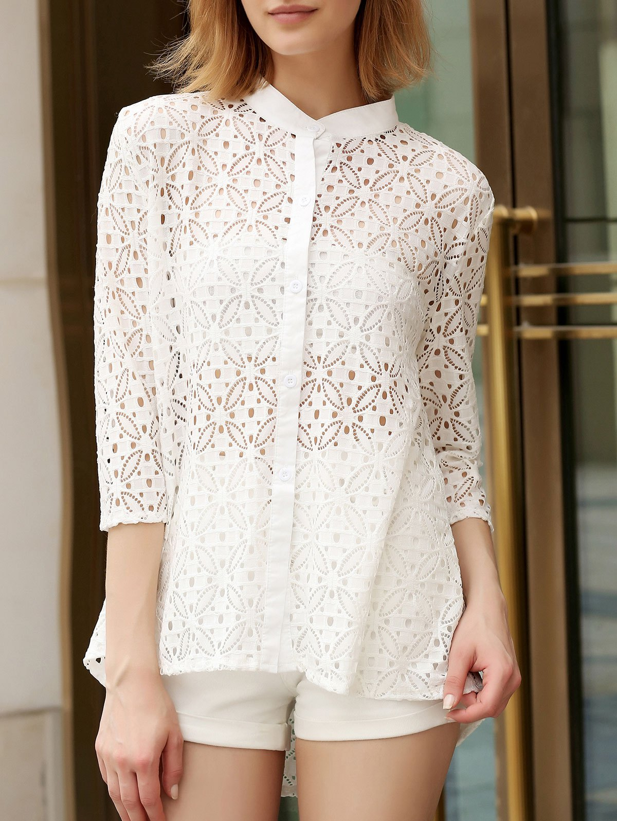 Trendy Stand Collar 3/4 Sleeve Lace Hollow Out White Women's Cover-Up Blouse - WHITE M