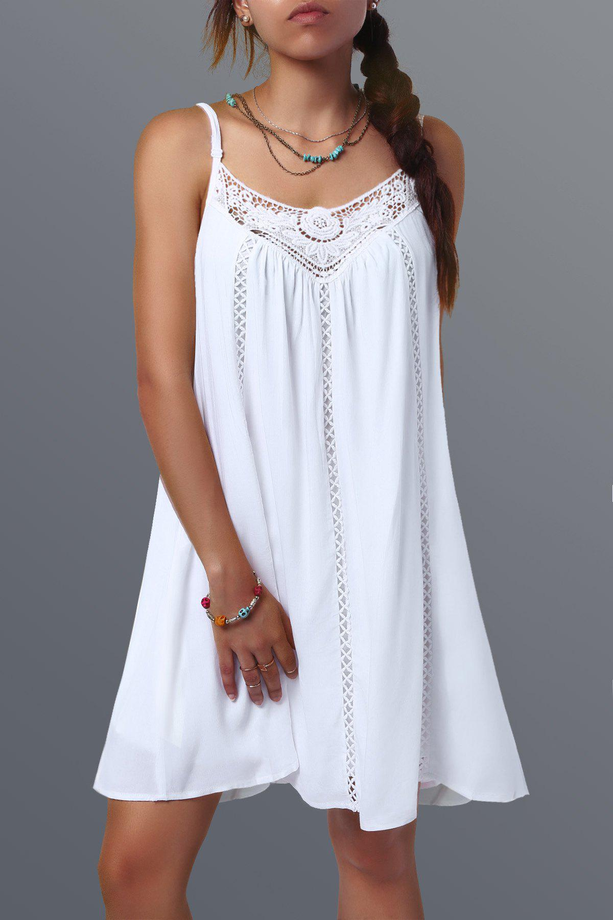 Lace Spliced Hollow Out Summer Dress - WHITE L