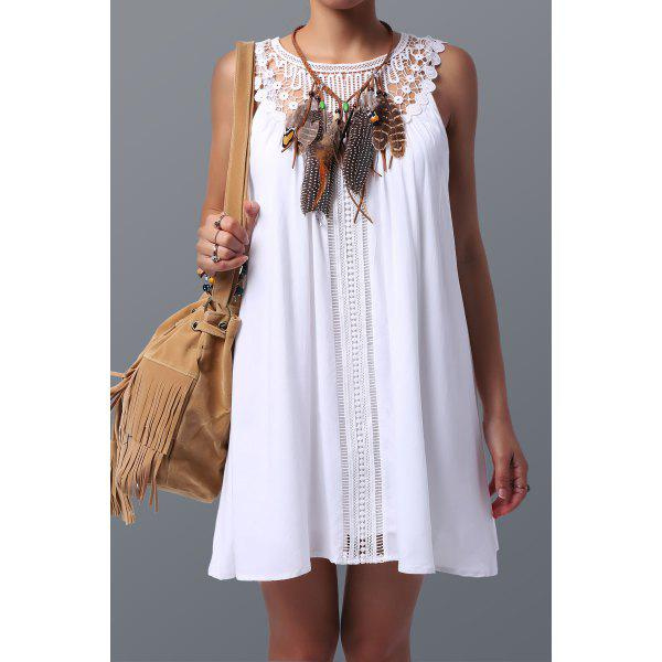 Trendy Lace Spliced Sleeveless Dress For Women