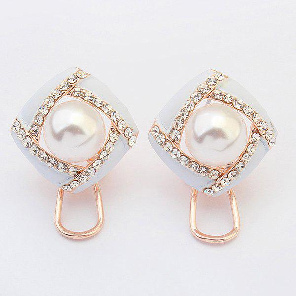 Pair of Hollow Out Faux Pearl Earrings - WHITE