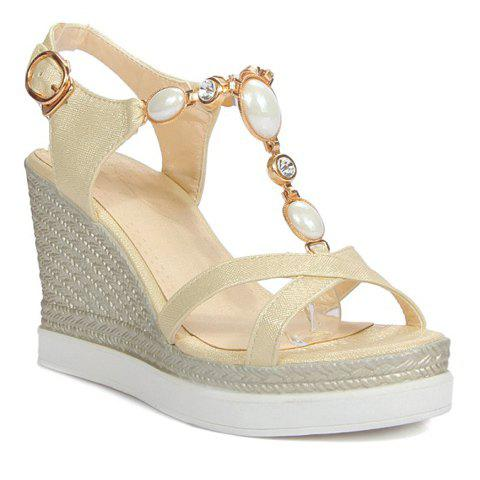 Stylish Metal and T-Strap Design Women's Sandals - BEIGE 36