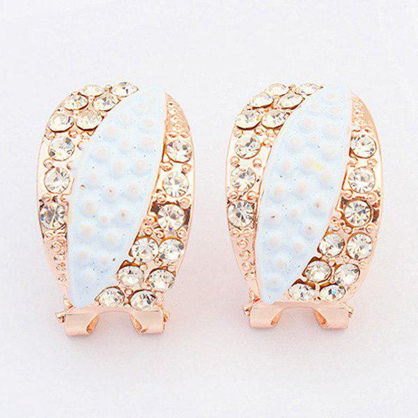Pair of Rhinestone Earrings - WHITE
