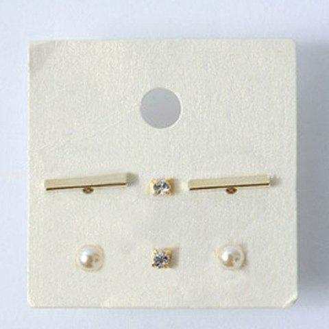 3 Pairs Delicate Faux Pearl Rhinestone Rectangle Stud Earrings For Women - GOLDEN