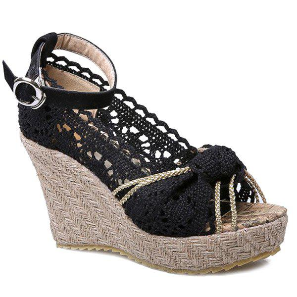 Sweet Hollow Out and Peep Toe Design Women's Wedge Shoes - BLACK 38