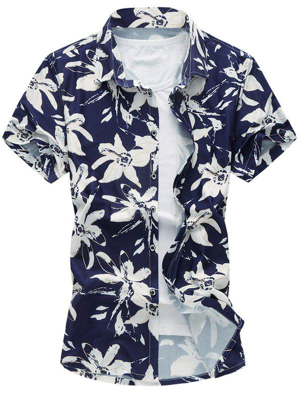 Casual Plus Size Flowers Printing Turn Down Collar Shirt For Men - PURPLISH BLUE 5XL