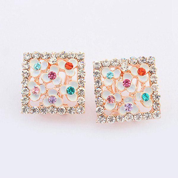 Pair of Clover Rhinestone Stud Earrings - WHITE