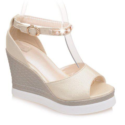 Trendy Peep Toe and Faux Pearls Design Women's Sandals - OFF WHITE 34