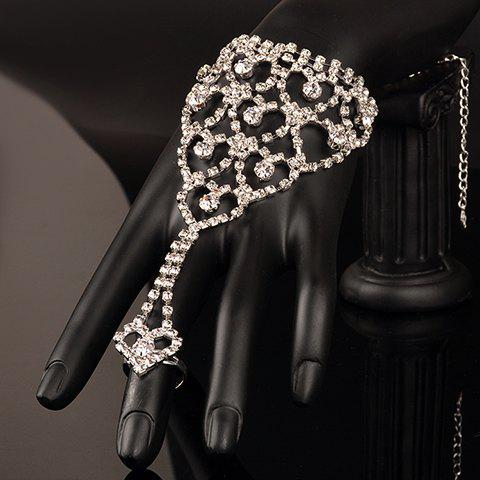 Stunning Rhinestoned Heart Bracelet With Ring For Women - WHITE ONE-SIZE