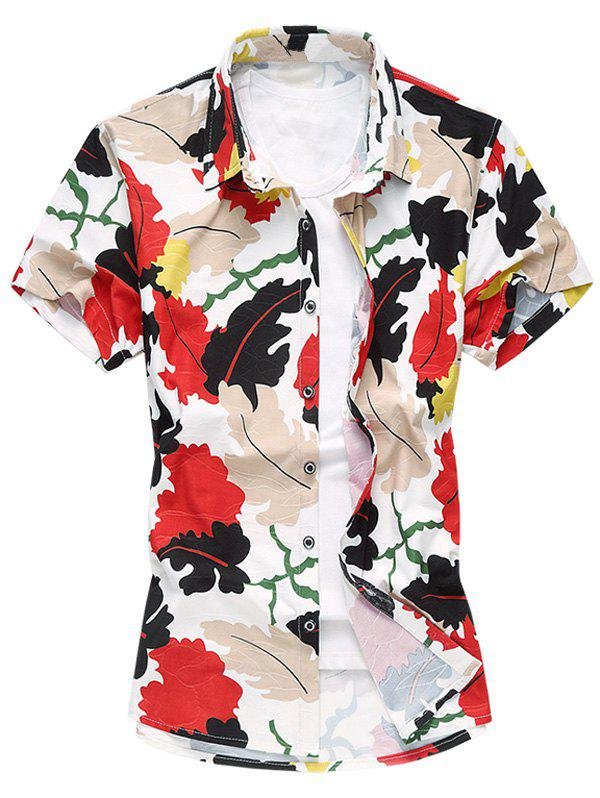 Casual Plus Size Leaves Printing Turn Down Collar Shirt For Men - RED 5XL