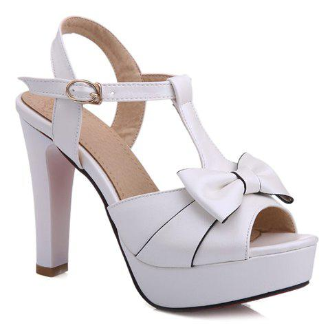 Trendy Bowknot and Chunky Heel Design Women's Sandals - WHITE 37