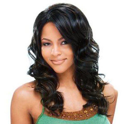 Charming Black Mixed Long Capless Fluffy Wave Side Parting Women's Human Hair Wig - COLORMIX
