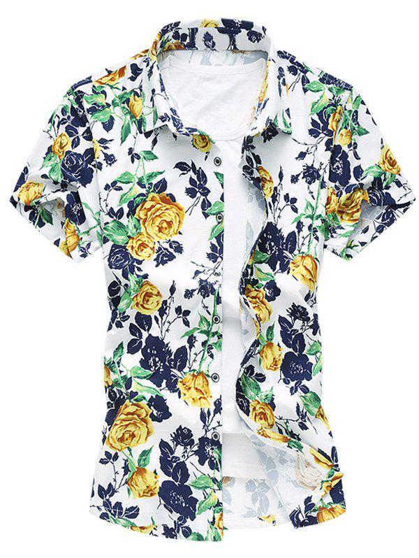 Fashion Plus Size Flower Printing Turn Down Collar Shirt For Men - YELLOW L