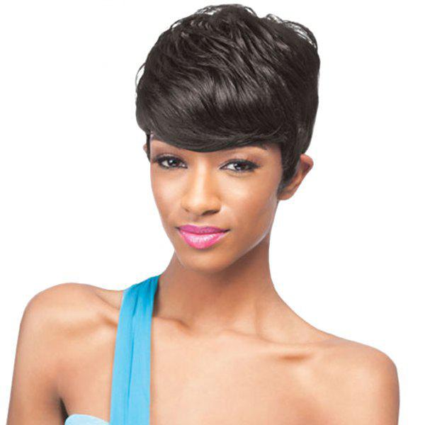 Spiffy Short Black Capless Straight Human Hair Women's Wig - JET BLACK