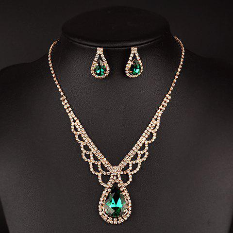 A Suit of Cute Rhinestoned Water Drop Necklace and Earrings For Women