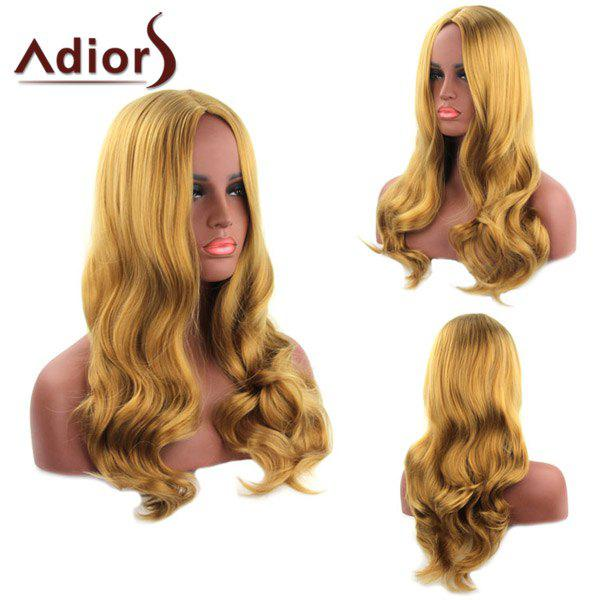 Fashion Heat Resistant Synthetic Long Blonde Mixed Centre Parting Wavy Adiors Wig For Women - GOLDEN