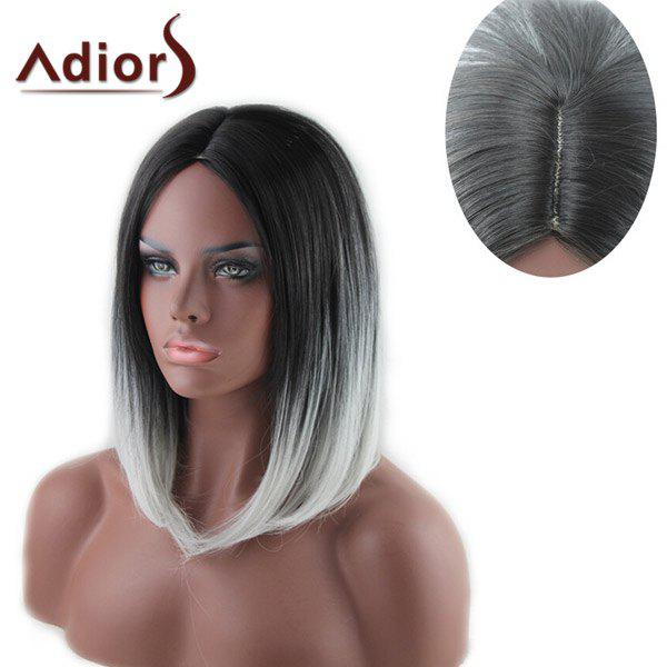 Stylish Medium Black Ombre White Capelss Straight Centre Parting Women's Synthetic Adiors Wig