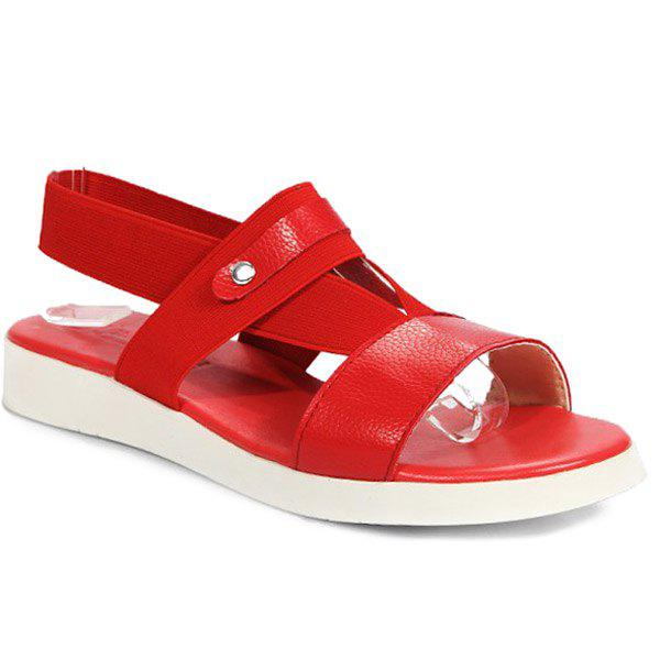 Leisure Elastic Band and Solid Color Design Women's Sandals - RED 39