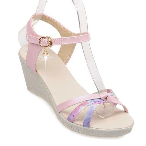 Ladylike Colour Block and Rhinestone Design Women's Sandals - PINK 37