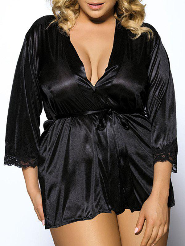 Plus Size Stylish Collarless Three Quarter Sleeve Lace Spliced Belted Women's Black Babydoll