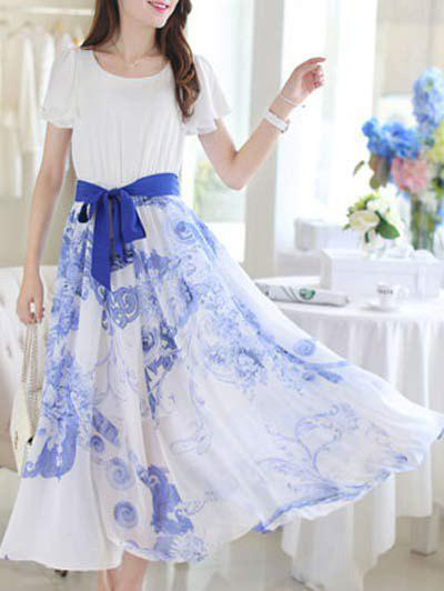 Sweet Floral Print Short Sleeve Belt-Tie Women's Chiffon Dress - BLUE M