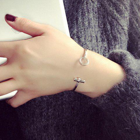 Delicate Solid Color Circle Opening Bracelet For Women