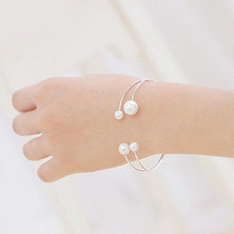 Delicate Faux Pearl Double Layers Opening Bracelet For Women