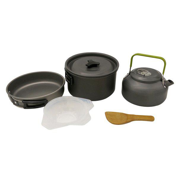 Set of High Quality Outdoor Camping Cookware Tool Aluminium Oxide Pot Pan Tea Kettle outdoor camping tool d2 steel g10 stone quality worthy collection of small zhe knife