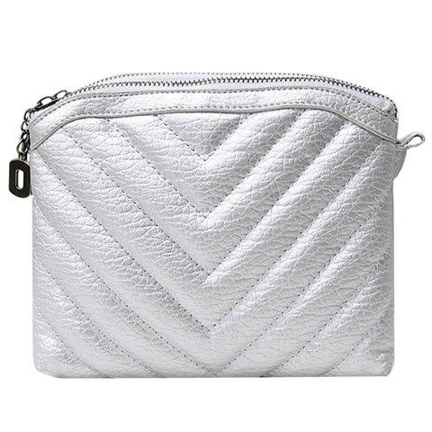 Stylish Solid Colour and Stitching Design Women's Crossbody Bag - SILVER