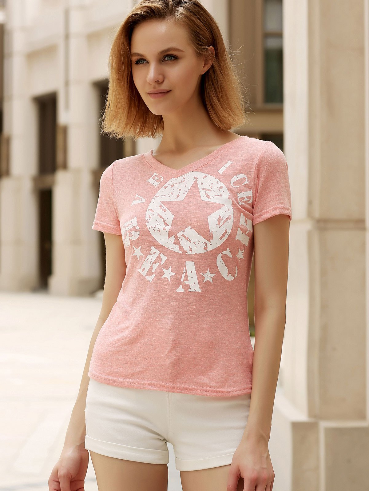 Casual Women's V-Neck Short Sleeve Star T-Shirt - PINK M