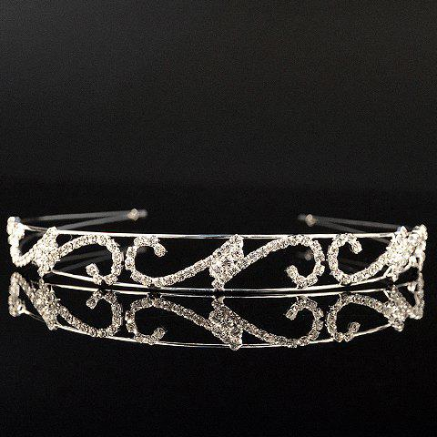 Sweet Multilayered Rhinestoned Hollow Out Hairband For Women - WHITE