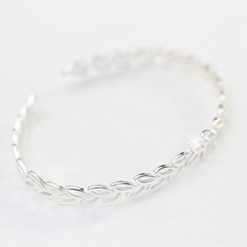 Hollow Out Leaf Opening Bracelet - SILVER