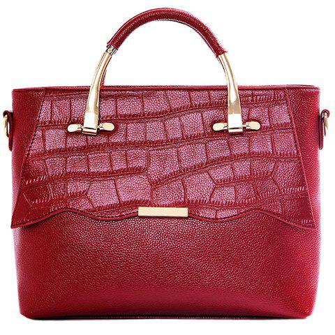 Fashionable Metallic and Embossing Design Women's Tote Bag - WINE RED