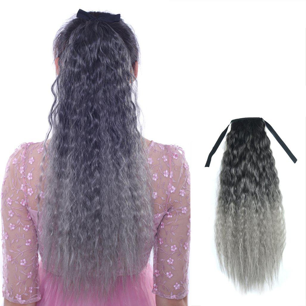 Fluffy Corn Hot Curly Synthetic Fashion Colorful Long Capless Ponytail For Women - BLACK/GREY