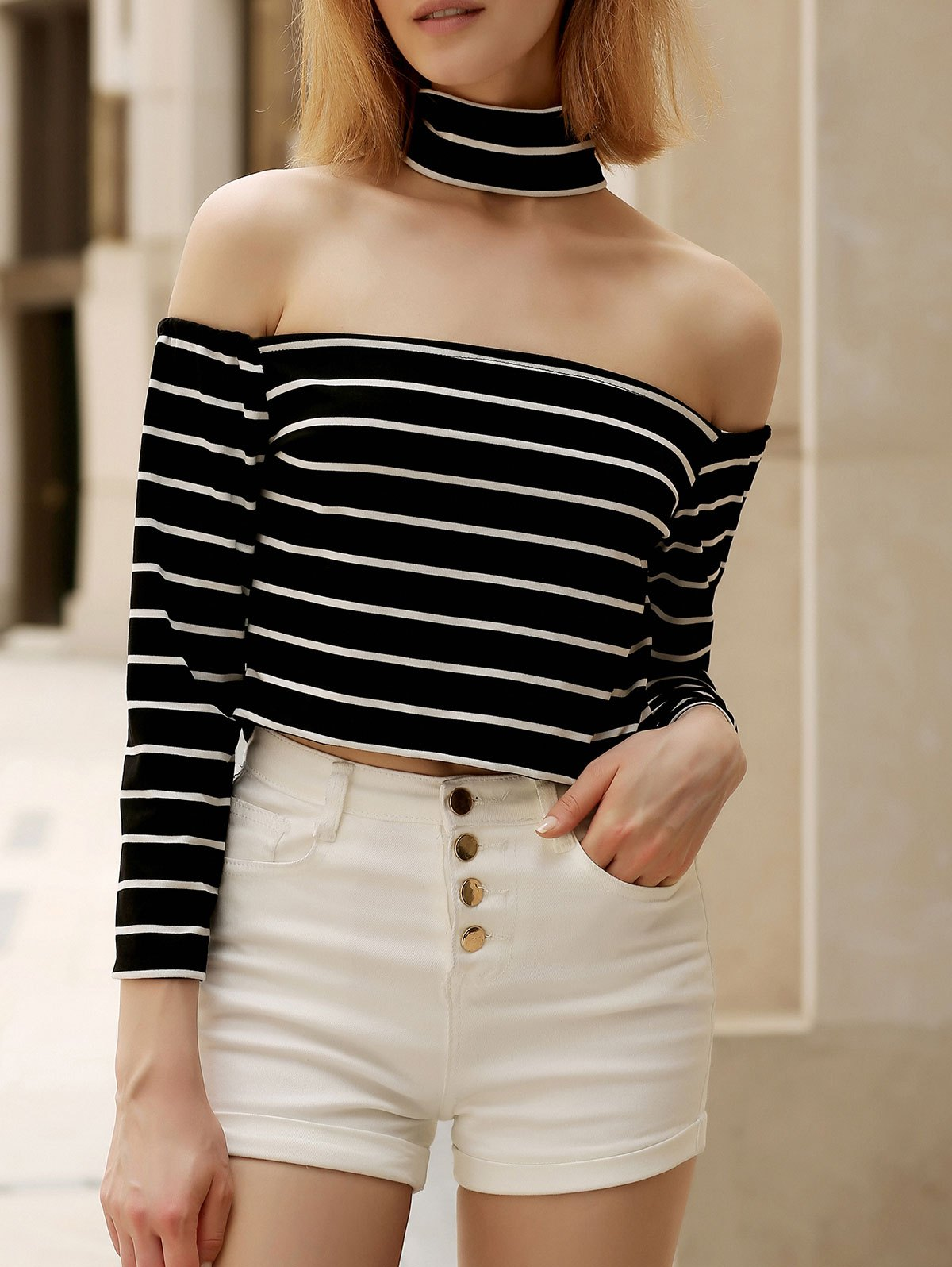 Chic Turtleneck Long Sleeve Striped Zippered Women's Crop Top - BLACK S
