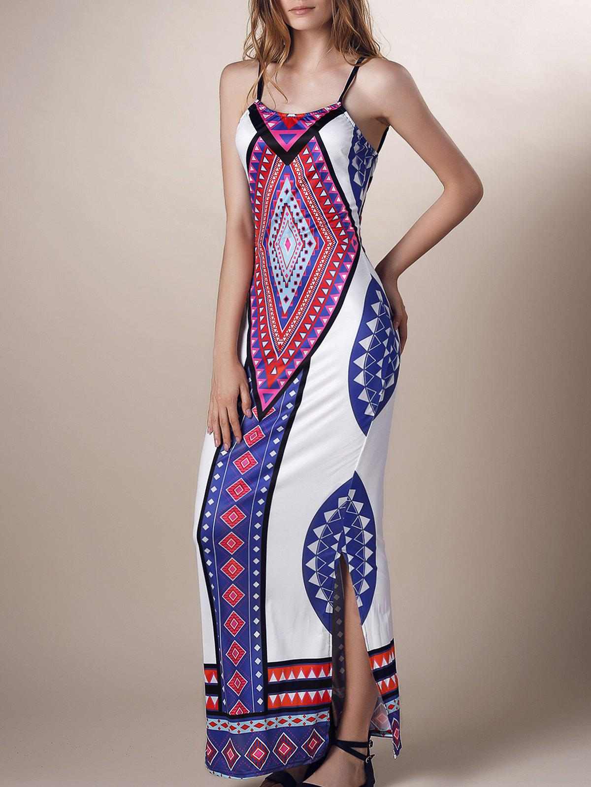 Geometric Print Backless Side Slit Dress от Dresslily.com INT