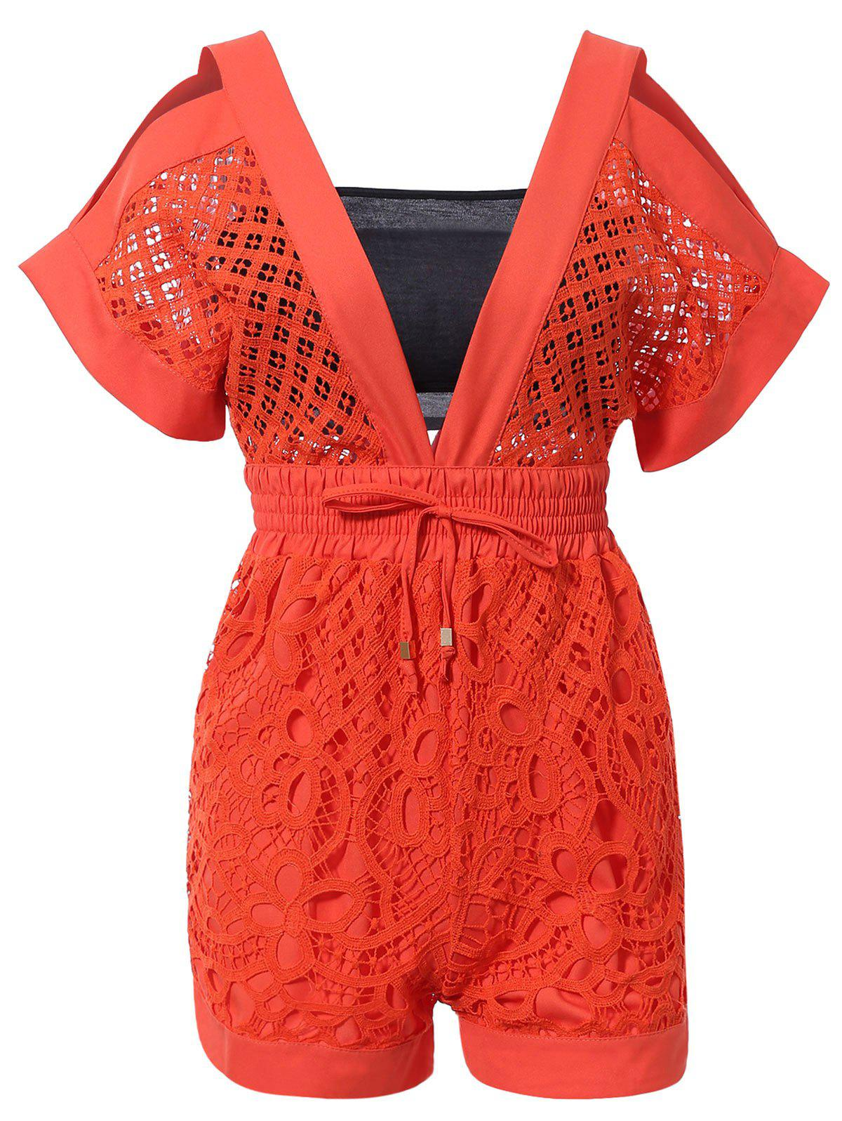 Chic Orange Lace Romper + Tube Top For Women